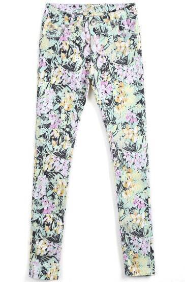 Black Floral Casual Pockets Pant