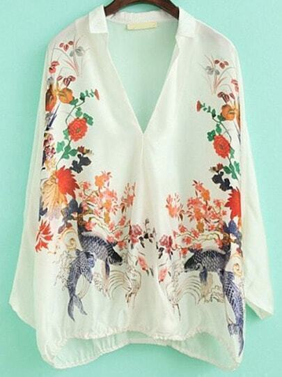 White V Neck Batwing Sleeve Floral Blouse