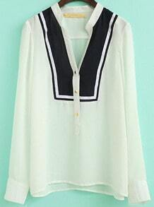 White Stand Collar Buttons Chiffon Blouse