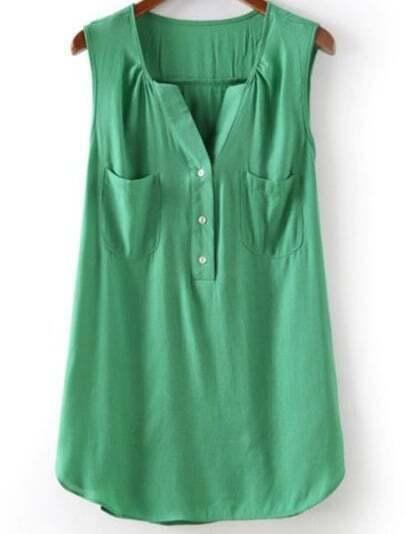 Green V Neck Sleeveless Pockets Chiffon Blouse