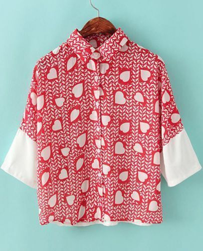Red Lapel Short Sleeve Hearts Print Chiffon Blouse