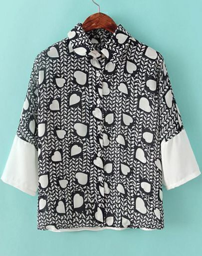Black Lapel Short Sleeve Hearts Print Chiffon Blouse