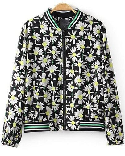 Black Stand Collar Long Sleeve Floral Jacket