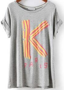 Grey Short Sleeve K Print Loose T-Shirt