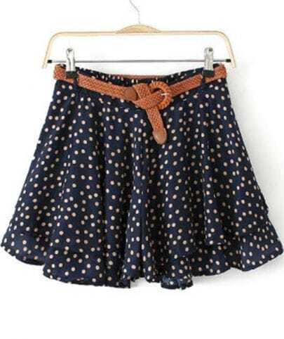 Navy Polka Dot Ruffle Chiffon Skirt Shorts