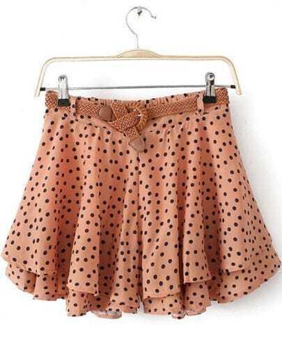 Camel Polka Dot Ruffle Chiffon Skirt Shorts