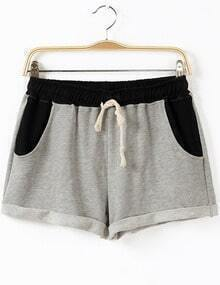 Grey Drawstring Waist Pockets Shorts