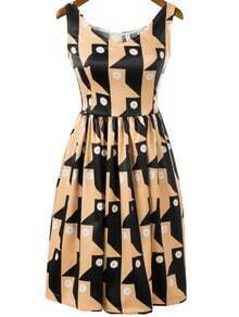 Khaki Sleeveless Geometric Face Print Dress