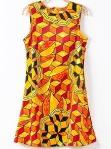 Yellow Sleeveless Geometric Print A Line Dress