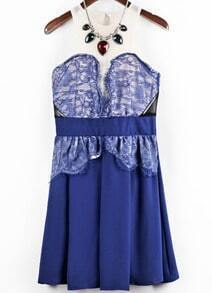 Blue Sleeveless Lace Mesh Yoke Pleated Dress