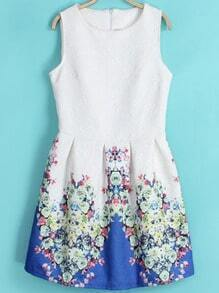 White Blue Round Neck Sleeveless Floral Dress