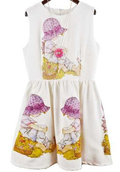 White Sleeveless Girl Print Tank Dress