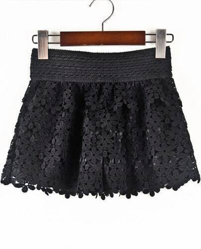 Black Hollow Floral Crochet Shorts