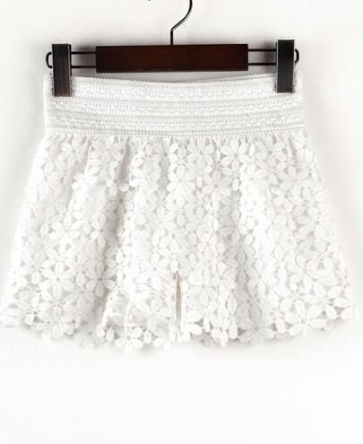 White Hollow Floral Crochet Shorts