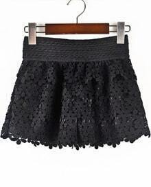 Black Hollow Floral Crochet Shorts