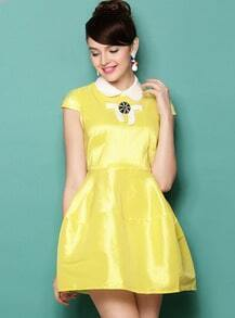 Yellow Short Sleeve Lapel Bowknot Ruffle Dress