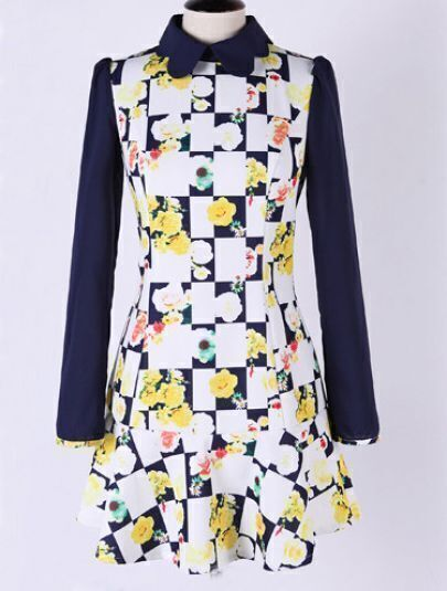 Navy Long Sleeve Plaind Floral Pattern Ruffle Dress