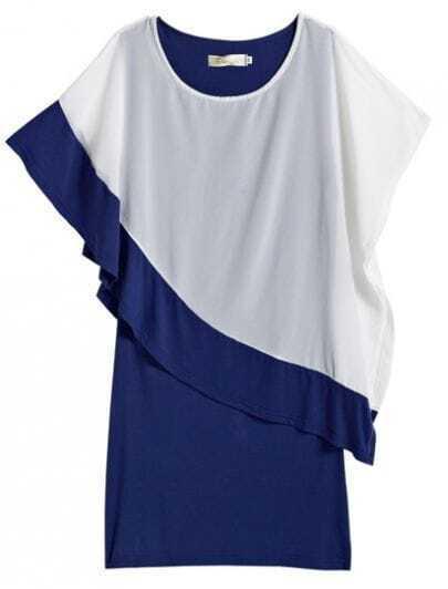 Navy Contast White Chiffon Dress