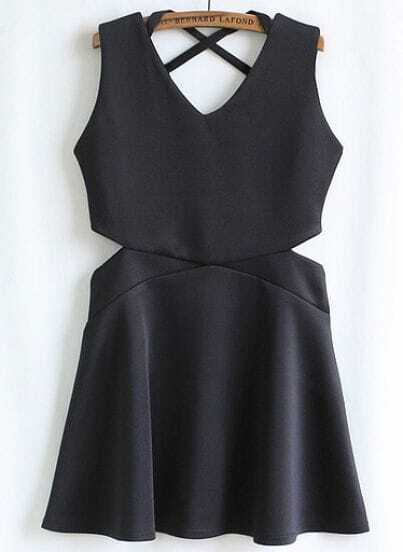 Black Sleeveless Waist Cut Out Dress