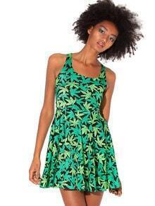 Green Sleeveless Maple Leaf Pattern Ruffle Dress