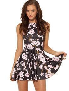 Black Sleeveless Flower Pattern Ruffle Dress