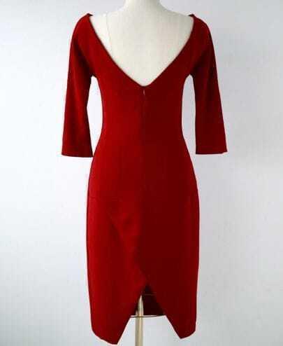 Red Three Quarter Sleeve Backless Dress