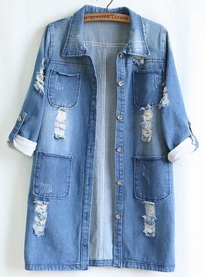 Blue Long Sleeve Pocket Denim Coat