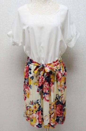 White Short Sleeve Floral Print Belt Pleated Dress