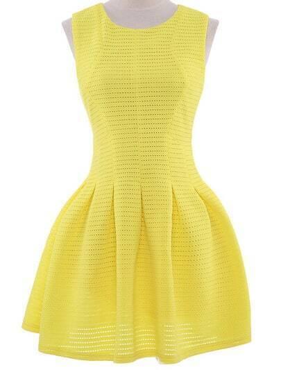 Yellow Sleeveless Hollow Zip Flare Dress