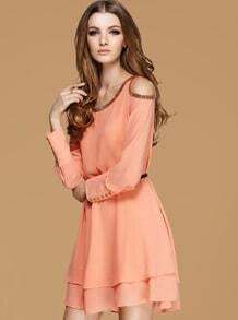 Orange Off The Shoulder Beading Chiffon Dress