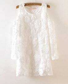 White Off The Shoulder Flower Lace Dress