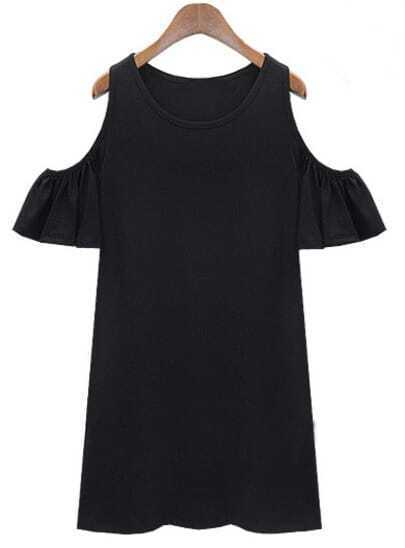Black Ruffle Sleeve Off The Shoulder Dress