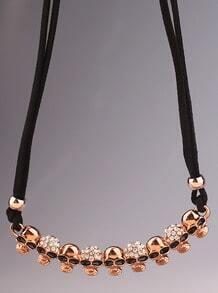 Gold Diamond Glaze Skull Necklace