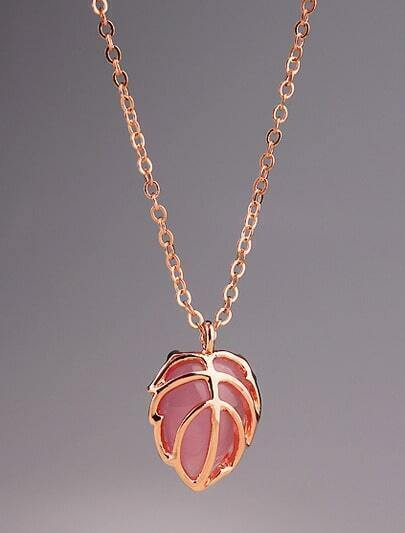 Red Gemstone Gold Hollow Leaf Necklace