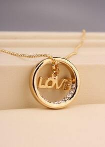 Gold Diamond LOVE Circle Necklace