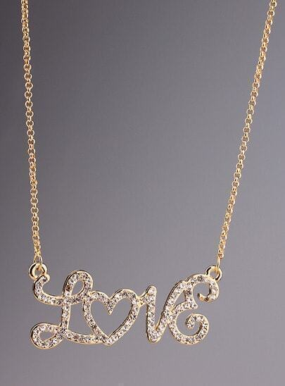 Gold Diamond LOVE Chain Necklace