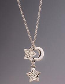 Silver Diamond Moon Stars Necklace
