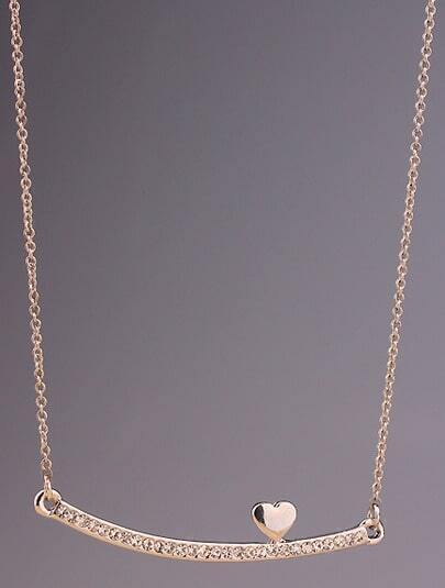 Silver Diamond Stick Heart Necklace