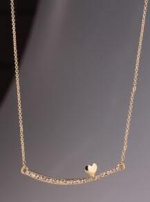 Gold Diamond Stick Heart Necklace