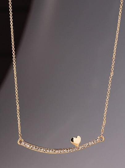 Gold Diamond Stick Heart Necklace