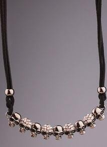 Silver Diamond Glaze Skull Necklace