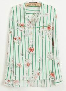 Green and Beige Striped Florals Print Long Sleeve Blouse