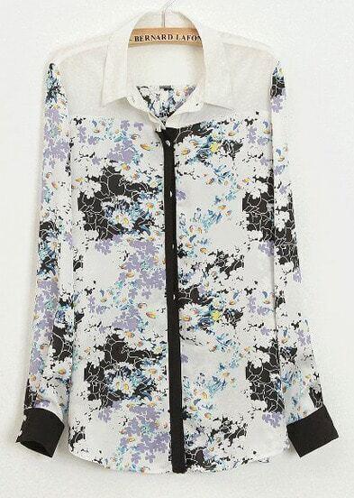 Black Contrast White Lapel Long Sleeve Florals Print Blouse