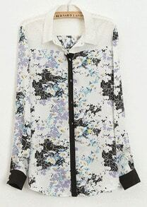 Black Contrast White Lapel Long Sleeve Florals Print Blouse