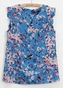 Blue Ruffle Sleeve Flowers with Birds Print Blouse