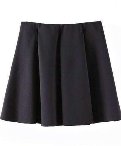 black pleated flare skater skirt shein sheinside