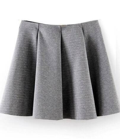Grey Pleated Flare Skater Skirt