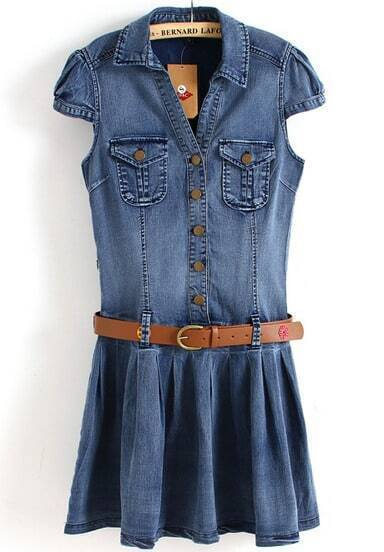Blue Cap Sleeve Double Pockets Pleated Denim Dress