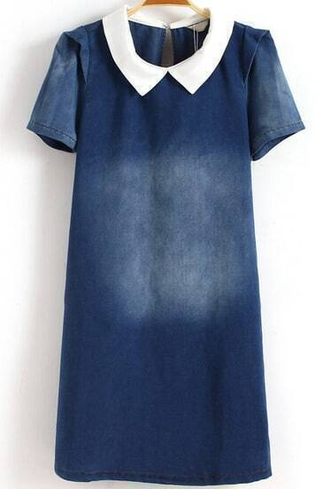 Blue Short Sleeve Contrast Lapel Blenched Denim Dress