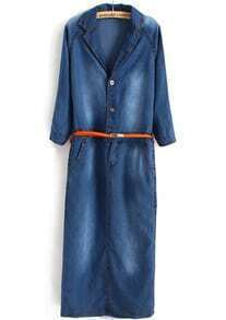Blue Long Sleeve Lapel Belt Split Back Denim Dress